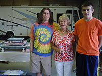 Jamie, Mom, & Tim in the workshop