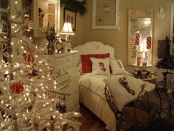 Christmas, antique twin bed, and beautiful pillows