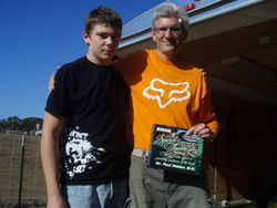 Tim and Dad with honorary plaque